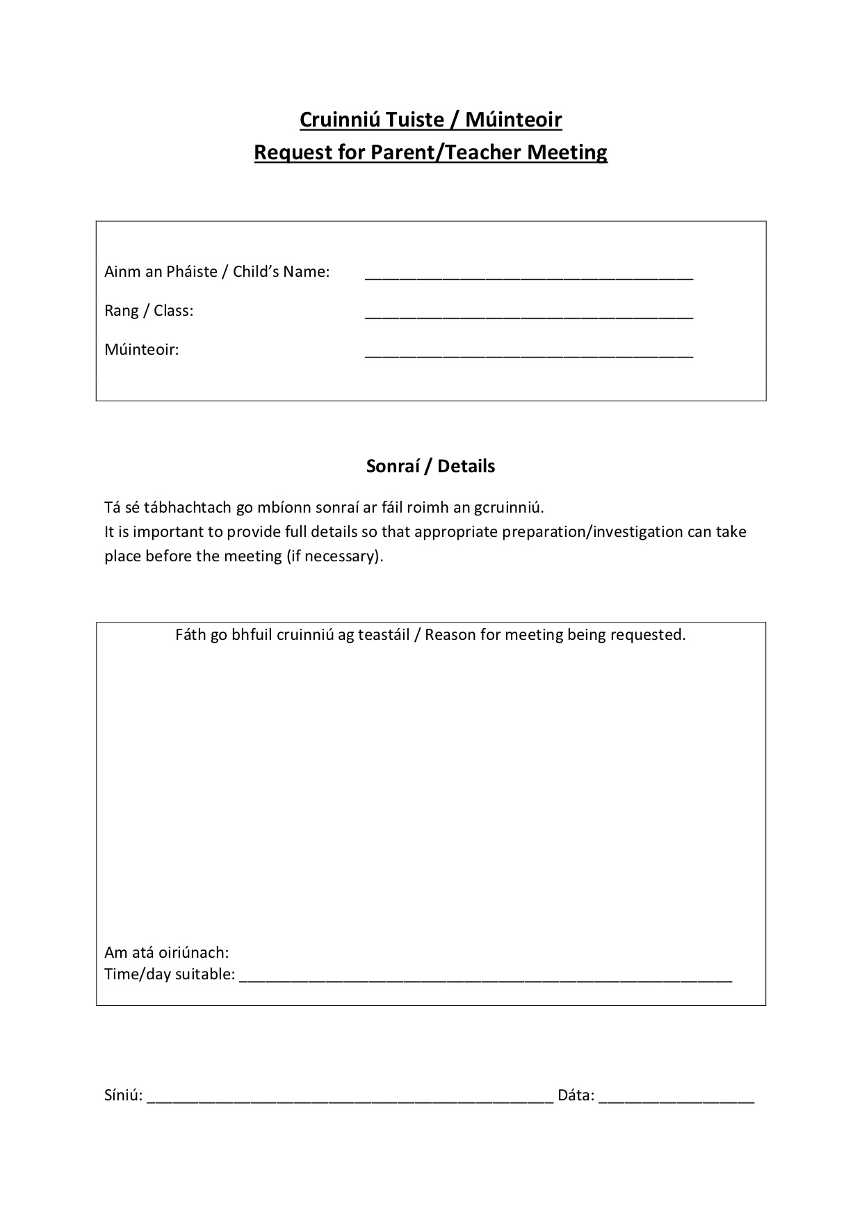 Request for Parent:Teacher Meeting